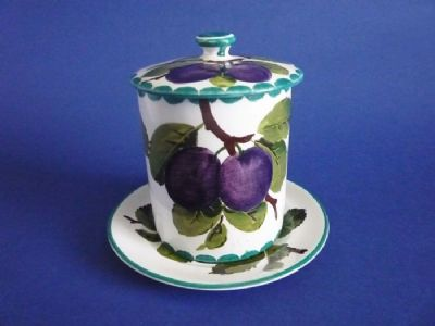 Beautiful Wemyss Ware 'Plums' Preserve Jar and Stand c1910